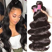 Sunber 10A Brazilian Body Wave Hair 3 Bundles 100% Unprocessed Brazilian Virgin Body Wave Hair Bundles Human Hair Extensions Natural Black Color (20 22 24inch)