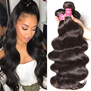 Sunber Malaysian Body Wave 3 Bunles 10a 100% Unprocessed Virgin Hair Remy Weave Hair Human Bundles Mixed Length 95-100g/pc Natural Black Color (14 16 18 inch, Natural Color)