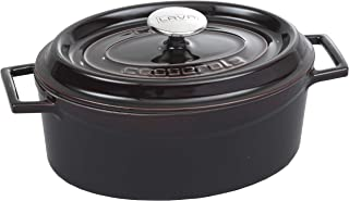 Enameled Cast Iron Oval Cookware Casserole Dish with Lid & Handles - 4 qt - Aubergine - Dishwasher & Oven Safe up to 700°F...