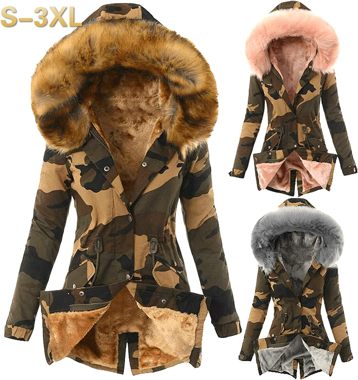 XCVBX Kapuzenjacke für Frauen Damen Pelz Futter Mantel Damen Winter Warm Thick Lange Jacke Wintermantel Outdoor Daunenmantel Grau 4