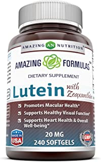 Amazing Nutrition Amazing Formulas Lutein 20 mg with Zeaxanthin 800 mcg- 240 Softgels- Supports Eye Health & Healthy Vision