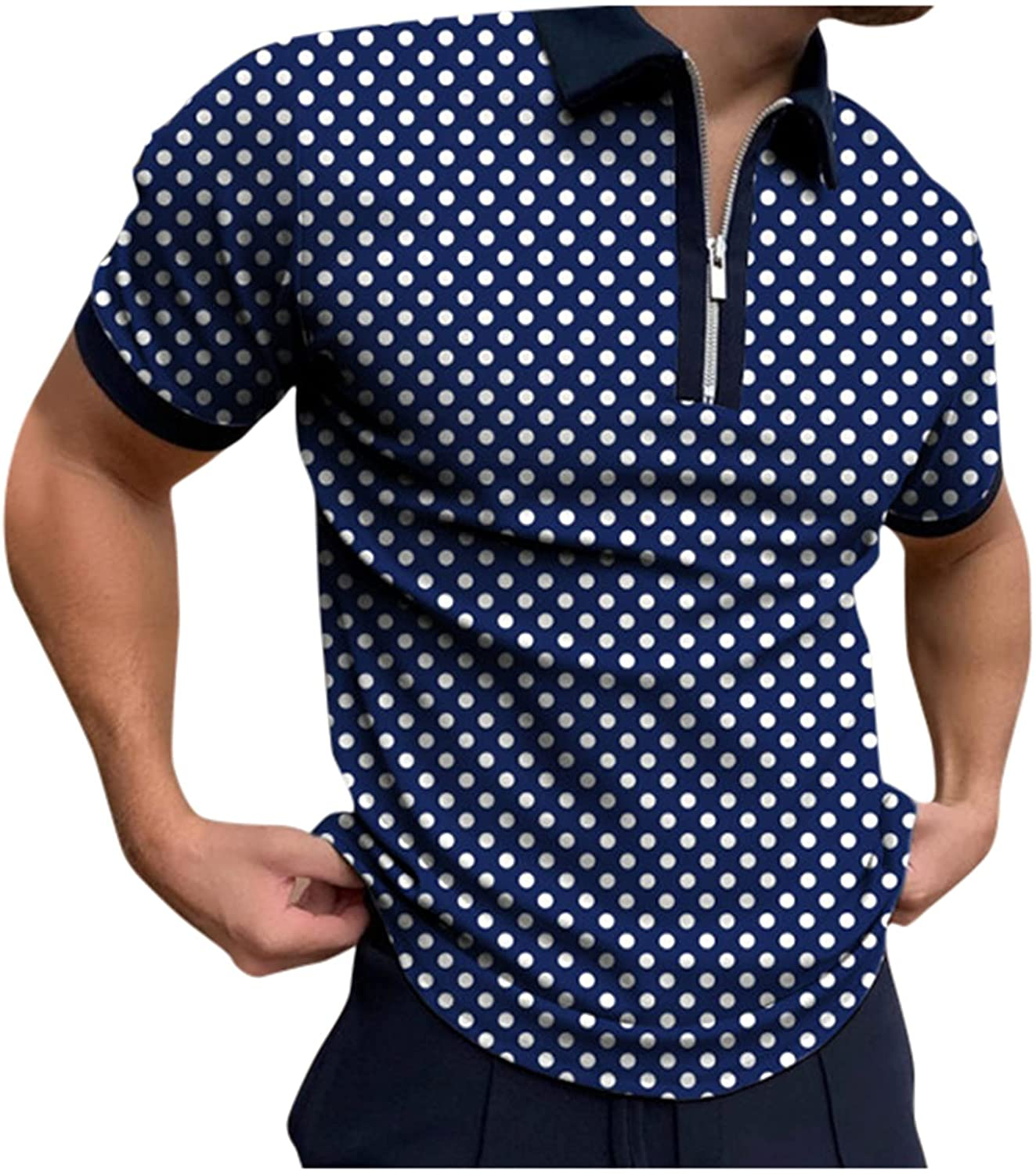 HONGJ Zipper Polo Shirts for Mens, Fall Summer Striped Slim Fit Short Sleeve T Shirt Business Casual Tops for Work Wear