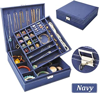 QBeel Jewelry Box for Women, 2 Layer 36 Compartments Necklace Jewelry Organizer with Lock Jewelry Holder for Earrings Bracelets Rings (Double Layer-Deep Blue)