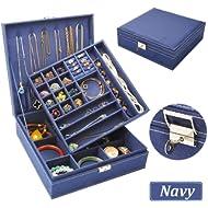 QBeel Jewelry Box for Women, 2 Layer 36 Compartments Necklace Jewelry Organizer with Lock Jewelry...