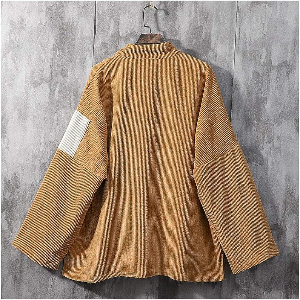 HAORUN Men Corduroy Kimono Cardigans Jacket Japanese Coat Patchwork Retro Baggy