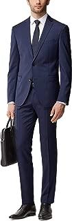 Men's 'Reyno/Wave' Dark Blue Plaid Extra Slim Fit Italian Wool Suit, Size 36R