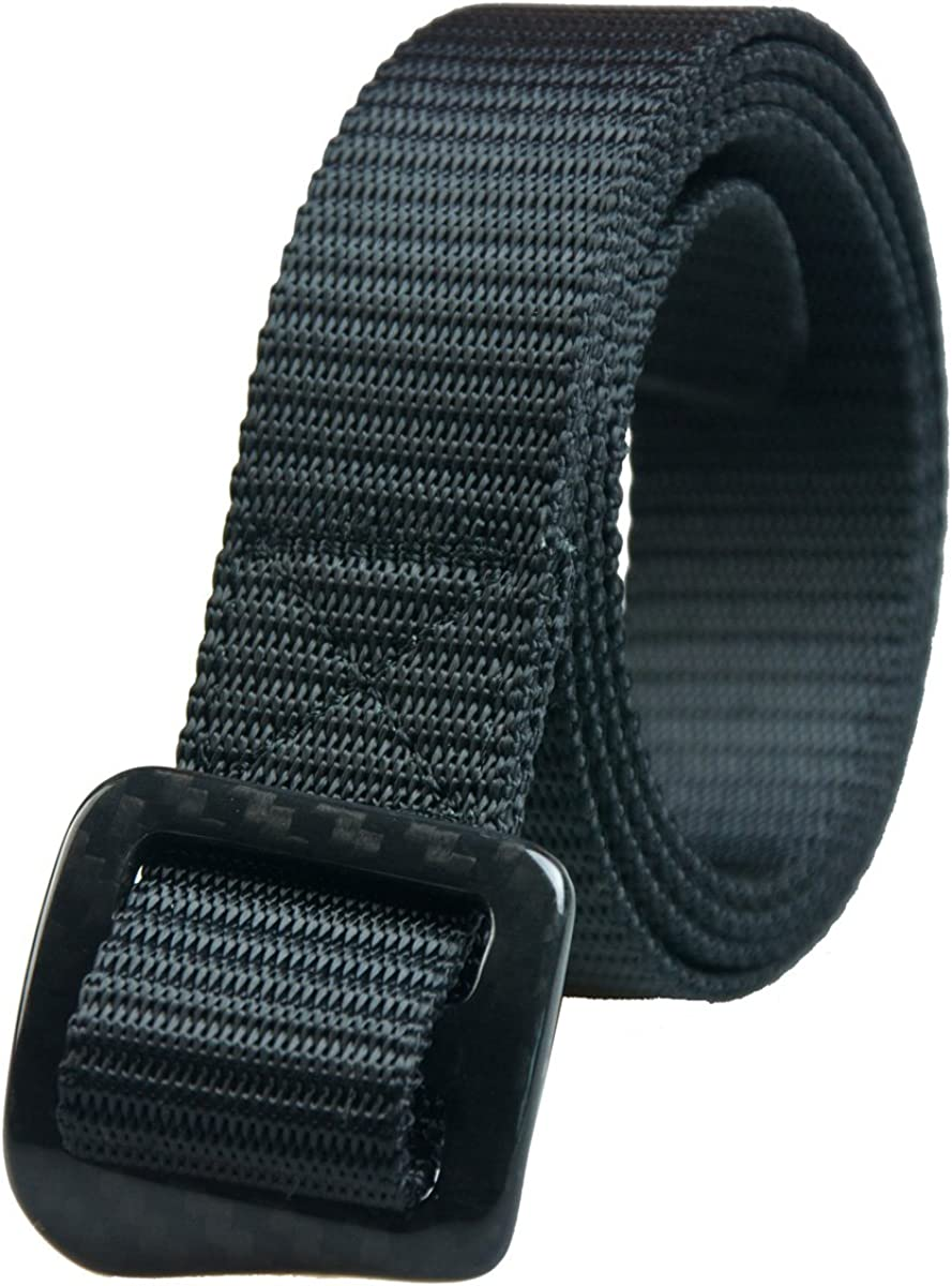RockWay Unisex Sturdy Nylon Belt with Hand-Polished Carbon Fiber Buckle, Nickel Free (Black)