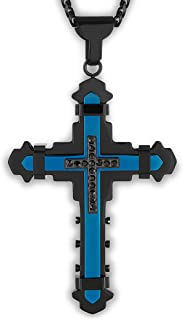 West Coast Jewelry   Crucible Stainless Steel Polished Cubic Zirconia Cross Pendant - 24