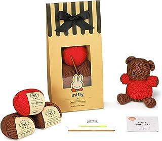 Stitch & Story Miffy Friends Boris Amigurumi-Intermediate Crochet Kit, Chestnut Brown &Tulip Red, One Size