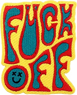 Toppa ricamata da applicare con ferro da stiro o cucitura, tema: F*ck Off