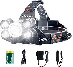 Headlamp Rechargeable LED Headlight 4 Modes, LED Waterproof Work Headlight, Brightest 10000 Lumens Flashlight, Recharged b...