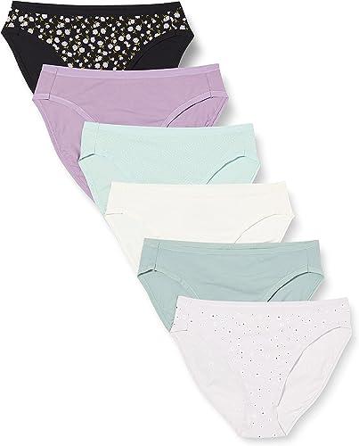 Amazon Essentials Bragas de Bikini de algodón elástico de Corte Alto Mujer