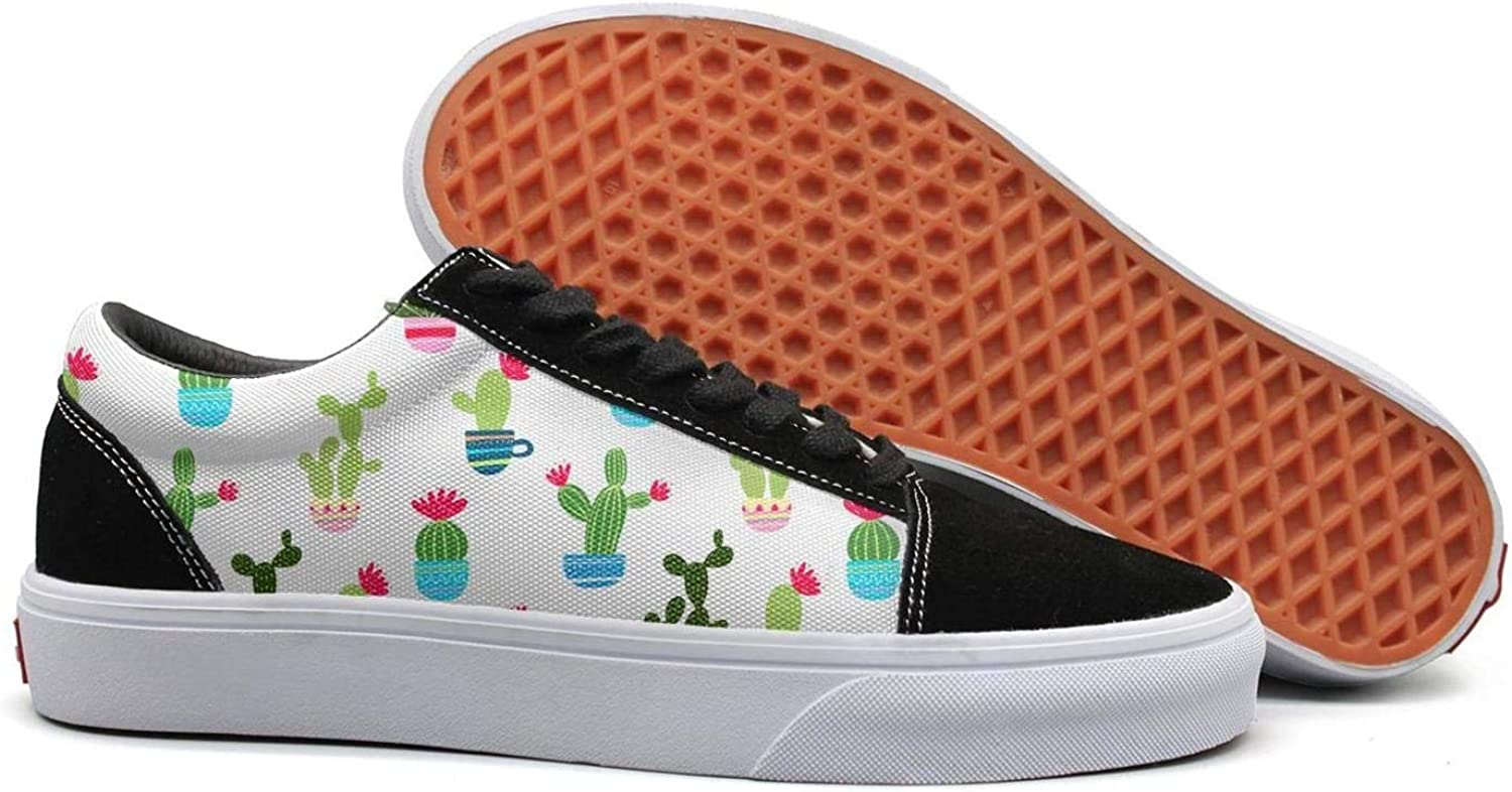 Wuixkas Cactus Decal Womens Canvas Upper Sneakers Lace up Popular Rubber Sole Loafer Canvas shoes