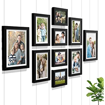 Art Street - Set of 10 Individual Black Wall Photo Frames Wall Hanging (Mix Size)(4 Units 5X7,4 Units 6X8 2 Units 8X10 inch)   Free Hanging Accessories Included   