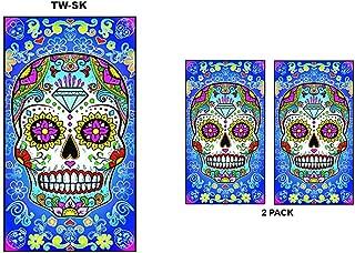 Rockin Towel Sugar Skull Towels with Designs 2 Pack Set Decorative Beach Towel 30