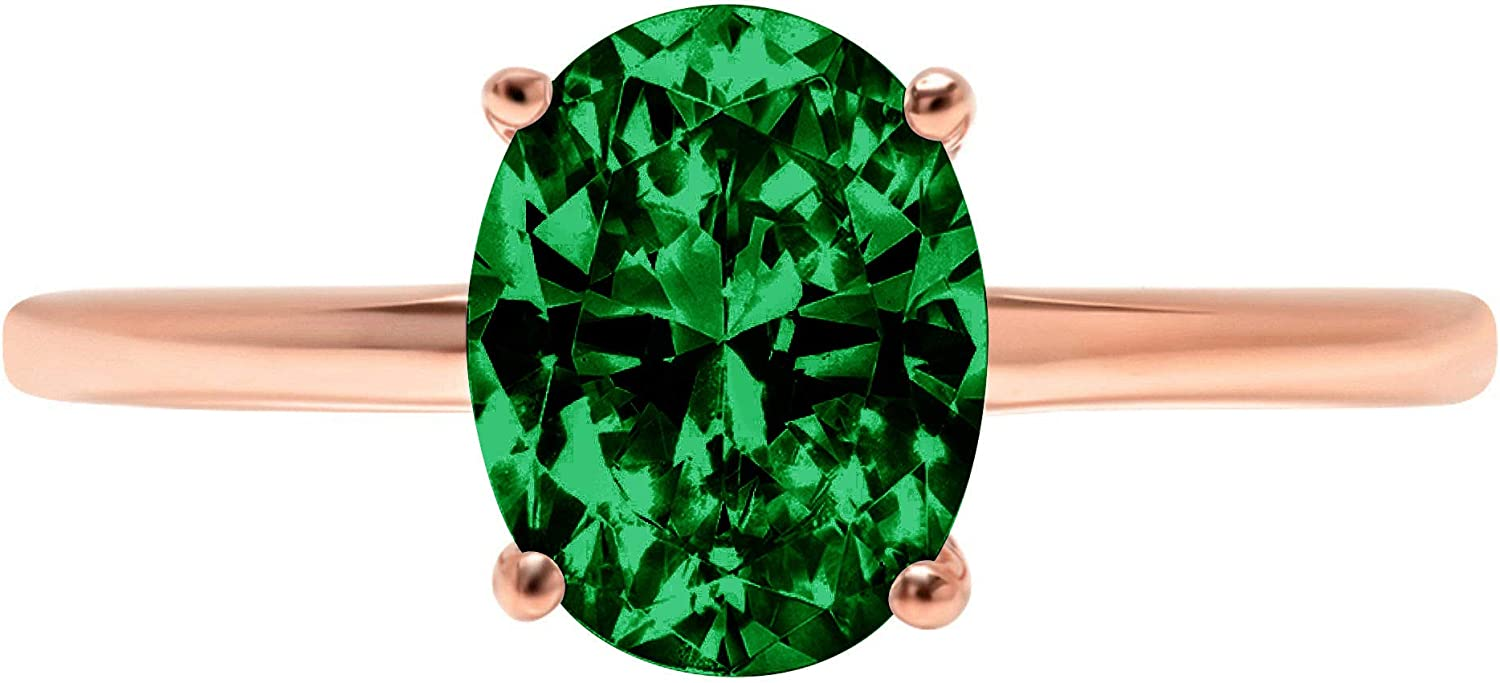 1.9ct Brilliant Oval Cut Solitaire Flawless Simulated Cubic Zirconia Green Emerald Ideal VVS1 4-Prong Engagement Wedding Bridal Promise Anniversary Designer Ring Solid 14k Rose Gold for Women