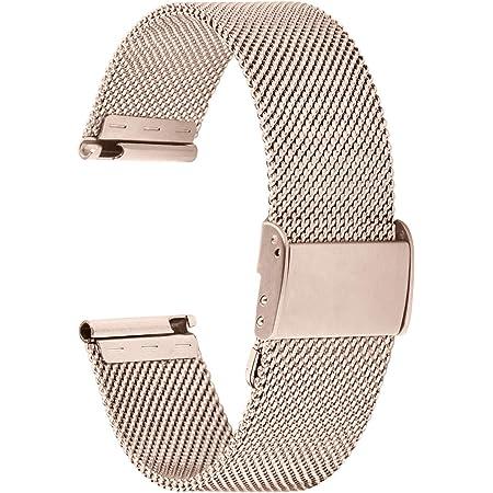 Fullmosa Bracelet de Montre 18mm,en Maille en Acier Inoxydable,Bracelet de Remplacement ML série 18mm Champagne Or