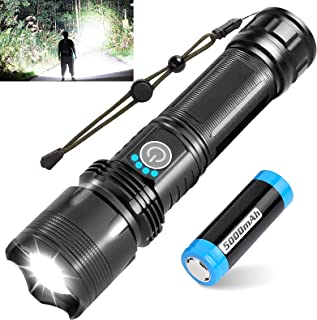 BERCOL Led Rechargeable Tactical Flashlight, 10000 High Lumen Super Bright Flash Light with Battery, 5 Modes, Zoomable, Wa...