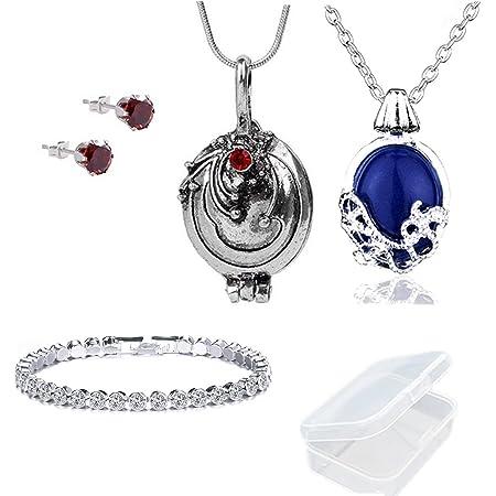 PPX 5 piezas de collares, aretes y pulsera de The Vampire Diaries - Collar Katherine para caminar de un día - La cadena del collar Verbena puede abrir plata - con caja de almacenamiento