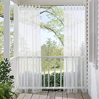 RYB HOME Outdoor Sheer Curtain for Patio, Waterproof Outdoor Indoor Curtains Privacy White Sheer Tab Top Voile Drapery for Porch Pergola Cabana with 1 Rope, 1 Panel, Wide 54 x Long 84 inch