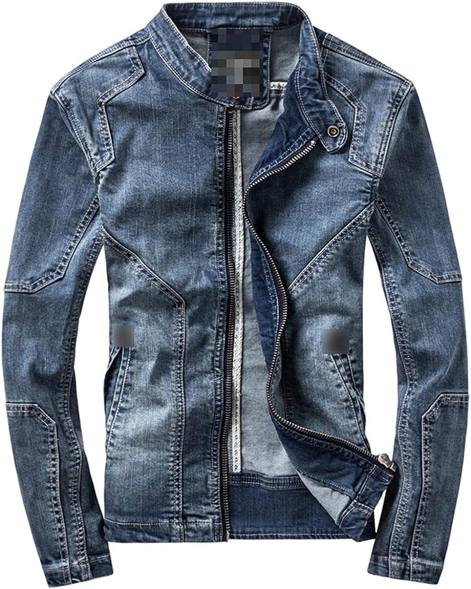 Men's Dark Blue Casual Denim Jacket Stand Collar Long Sleeve Denim Bomber Jacket Retro Motorcycle Jacket