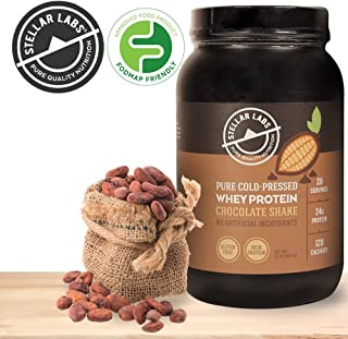 Stellar Labs Pure Cold-Pressed Chocolate Whey Protein Powder, Gluten-Free, High Protein, All Natural with Stevia, Low FODMAP, 28 Servings, 32oz