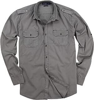 Urban Boundaries Men's Garment Dyed 100% Cotton Military Style Long Sleeve Shirt