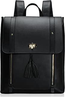 Estarer Upgraded Version Women PU Leather Backpack 15.6inch Laptop Vintage College School Rucksack Bag (black)