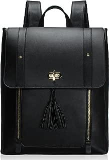 Upgraded Version Women PU Leather Backpack 15.6inch Laptop Vintage College School Rucksack Bag (black)