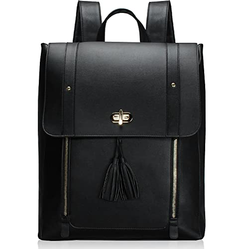 ba5d38eaee11 Estarer Women Laptop Backpack 15.6 Inch PU Leather Satchel Rucksack Large  Black College School Bag for