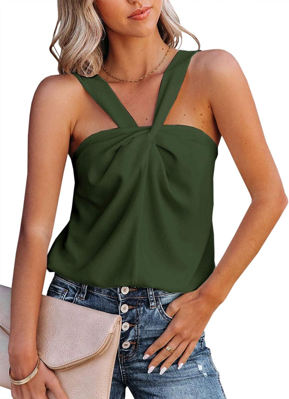 Womens Summer Halter Tank Tops Sleeveless Shirts Casual Blouse Solid Cami Tops