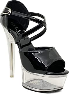 Klaur Melbourne Women 6 Inch Transparent Pencil Heel Party Sandals Black 19001-21