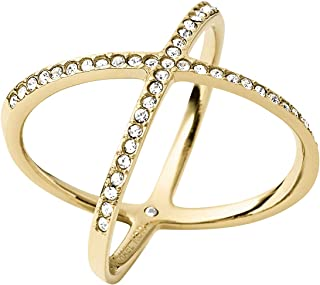Michael Kors Pave X Gold Ring, Size 8