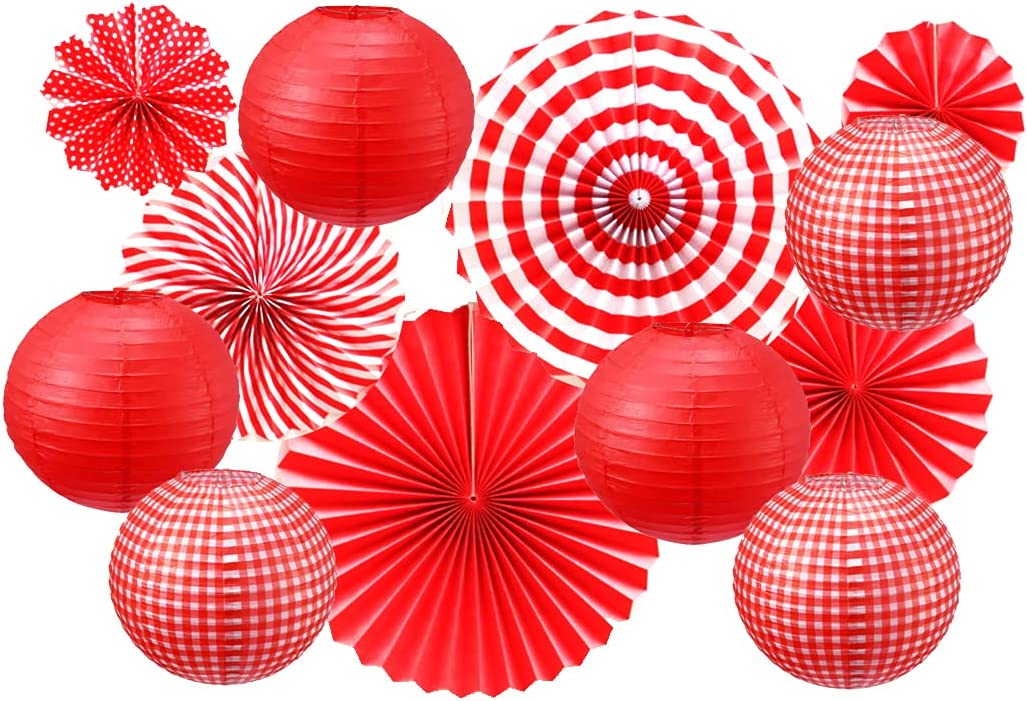 12PCS Party Hanging Decorations Hanging Paper Fans Round Hanging Paper Lanterns for Birthday Wedding Graduation Summer Barbecue Picnic Party Supplies