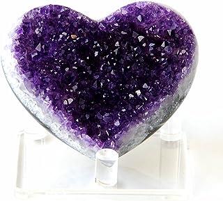 "JIC Gem Deep Purple Amethyst Cluster Natural Druzy Heart 3.5"" AA Color Beautiful Amazing Geodes Spiritual Healing Home and..."