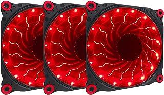 Apevia APEVIA 312L-DRD 120mm Silent Black Case Fan with 15 x Red LEDs & 8 x Anti-Vibration Rubber Pads (3 Pk)