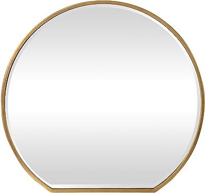 f0c9fb70fdd6 Amazon.com  Wood Frame Round Wall Mirror  Home   Kitchen