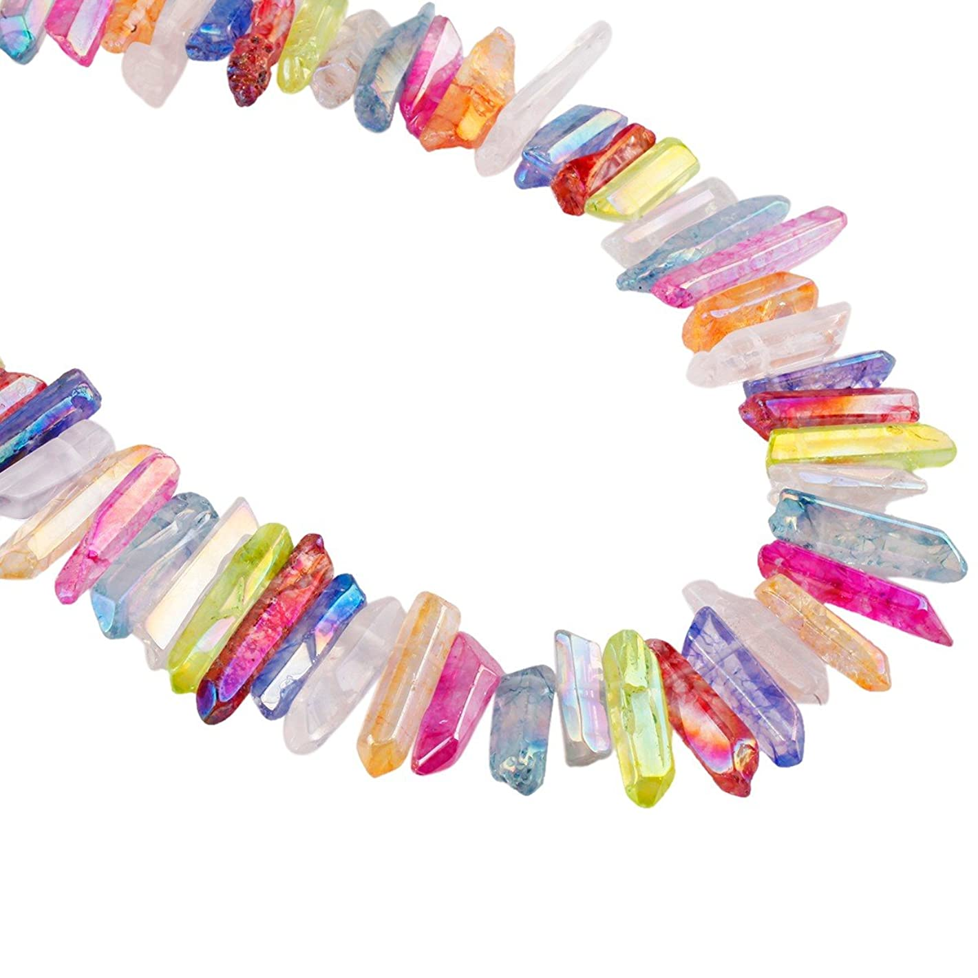 rockcloud Natural Rock Crystal Points Titanium Coated Clear Quartz Sticks Spikes Top Drilled 15 inch Strand,Colorful