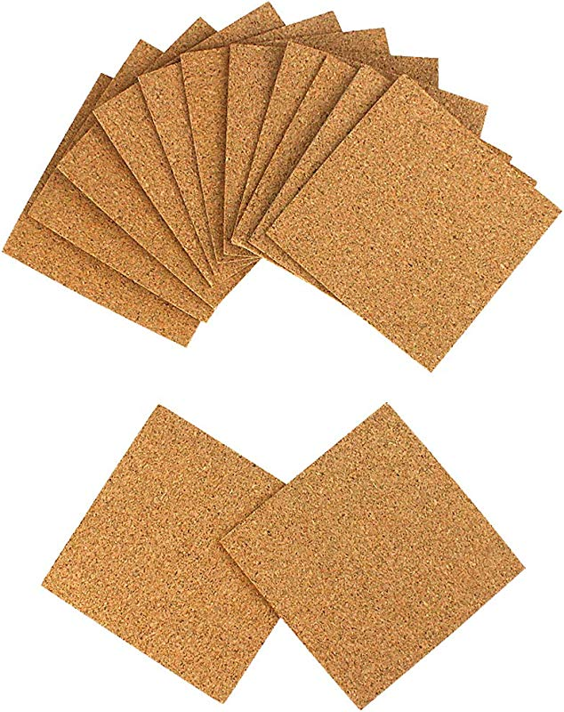 80 Pack Self Adhesive Cork Squares 4 X 4 Cork Coasters Cork Tiles Cork Backing Sheets Cork Mats For DIY Crafts By Lee Buty