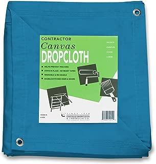 10 oz Cotton Canvas Drop Cloth with Grommets 8' x 10' TURQUOISE DC-0810-BK10
