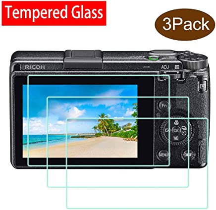 Anti-Scrach Anti-Fingerprint Anti-Bubble Anti-Water GR III Screen Protector for Ricoh GR III Digital Camera,ULBTER 0.3mm Ultra-Clear 9H Hardness Tempered Glass Flim Edge to Edge Protection 3 Pack