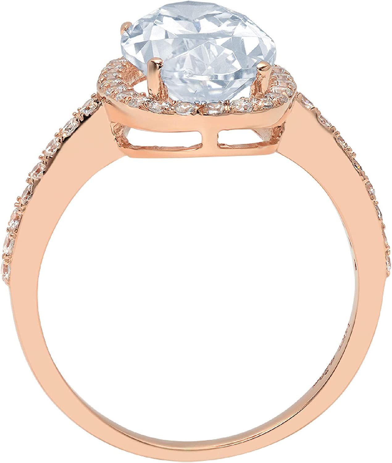 Clara Pucci 2.96 Brilliant Oval Cut Solitaire Accent Halo Stunning Genuine Flawless Natural Aquamarine Gem Designer Modern Ring Solid 18K Rose Gold