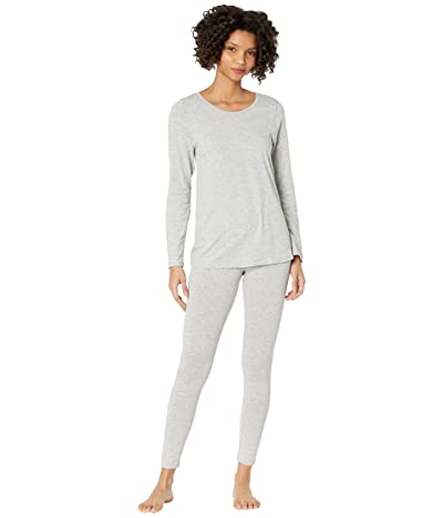 HUE Solid PJ Leggings Set with CBD (Light Grey Heather) Women