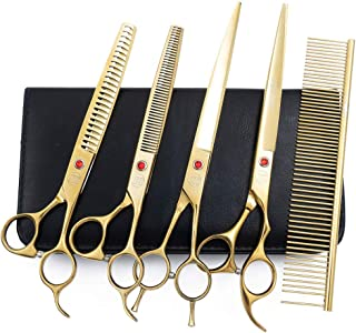 Moontay Professional Pet Grooming Scissors Set, 4-Pieces 440C Japanese Steel Straight & Curved & Thinning & Chunker Shears/Scissors with 1 Grooming Comb for Dog Cat and More Pets
