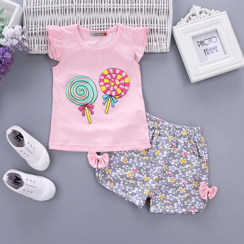BOZEVON Baby Girls Lollipop Print T Shirt Tops and Floral Shorts For 0-4 Years old