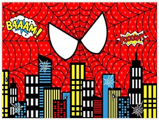 Allenjoy 8x6ft Fabric Red Superhero Cityscape Theme Backdrop for Photography 1st Boys Birthday Party Baby Shower Decorations Family Gathering Background Cake Smash Photo Shoot Photobooth Studio Props