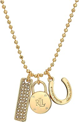 "22"" Micropave Charm Pendant Necklace"
