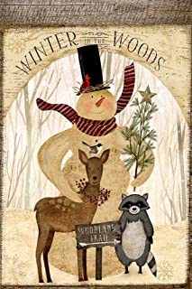 Snowman Winter in The Woods Welcome Trail Decorative Garden Flag, Double Sided, 12