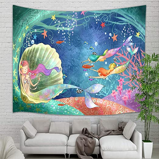 Amazon Com Teen Girl Tapestry Wall Hanging Underwater World Watercolor Mermaid In Seashell Wall Tapestry Art For Home Decorations Dorm Decor Living Room Bedroom Bedspread 60 X40 60 X40 Everything Else