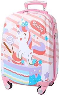 kids luggage for girls rolling suitcase toddler personalized travel case carry on (unicorn02)